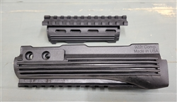 Made of high quality polymer. Fits AK47/Ak74, two pieces. Integrated top bottom rail. With R/L rail.