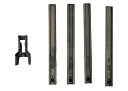 AK-74 STRIPPER CLIP SET. INCLUDES: 1-GUIDE AND 4 CLIPS. NEW. RUSSIAN.